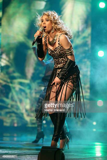 Aneta Sablik performs at the rehearsal for the 5th 'Deutschland sucht den Superstar' show at Coloneum on April 26 2014 in Cologne Germany