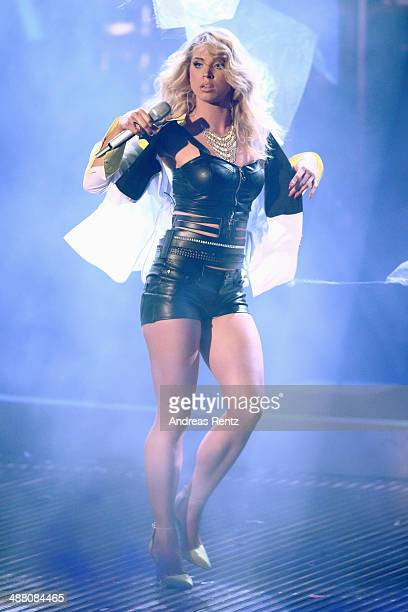 Aneta Sablik performs on stage during the final of 'Deutschland sucht den Superstar' show at Coloneum on May 3 2014 in Cologne Germany