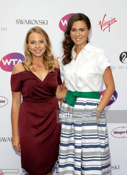 Anett Kontaveit and Natalia Vikhlyantseva attend the annual WTA PreWimbledon Party at The Roof Gardens Kensington on June 29 2017 in London United...