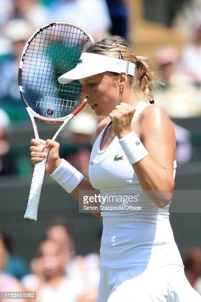 Anett Kontaveit celebrates victory over Heather Watson during their Ladies Singles 2nd Round match on Day 3 of The Championships - Wimbledon 2019 at...
