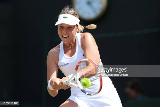 Anett Kontaveit in action against Heather Watson during their Ladies Singles 2nd Round match on Day 3 of The Championships - Wimbledon 2019 at the...
