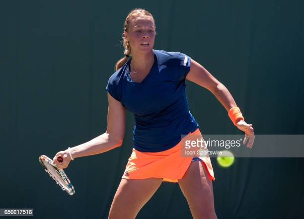 Anett Kontaveit in action during the second day of the qualifying round of the 2017 Miami Open on March 21 at Tennis Center at Crandon Park in Key...