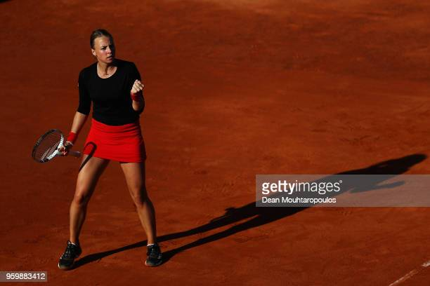 Anett Kontaveit of Estonia celebrates a point in her quarter final match against Caroline Wozniacki of Denmark during day 6 of the Internazionali BNL...