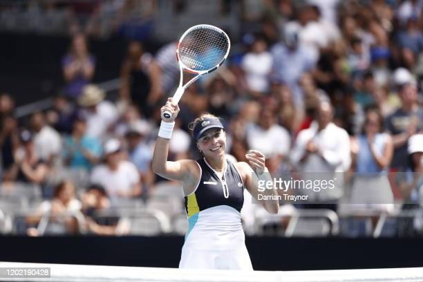 Anett Kontaveit of Estonia celebrates after winning match point during her Women's Singles fourth round match against Iga Swiatek of Poland on day...