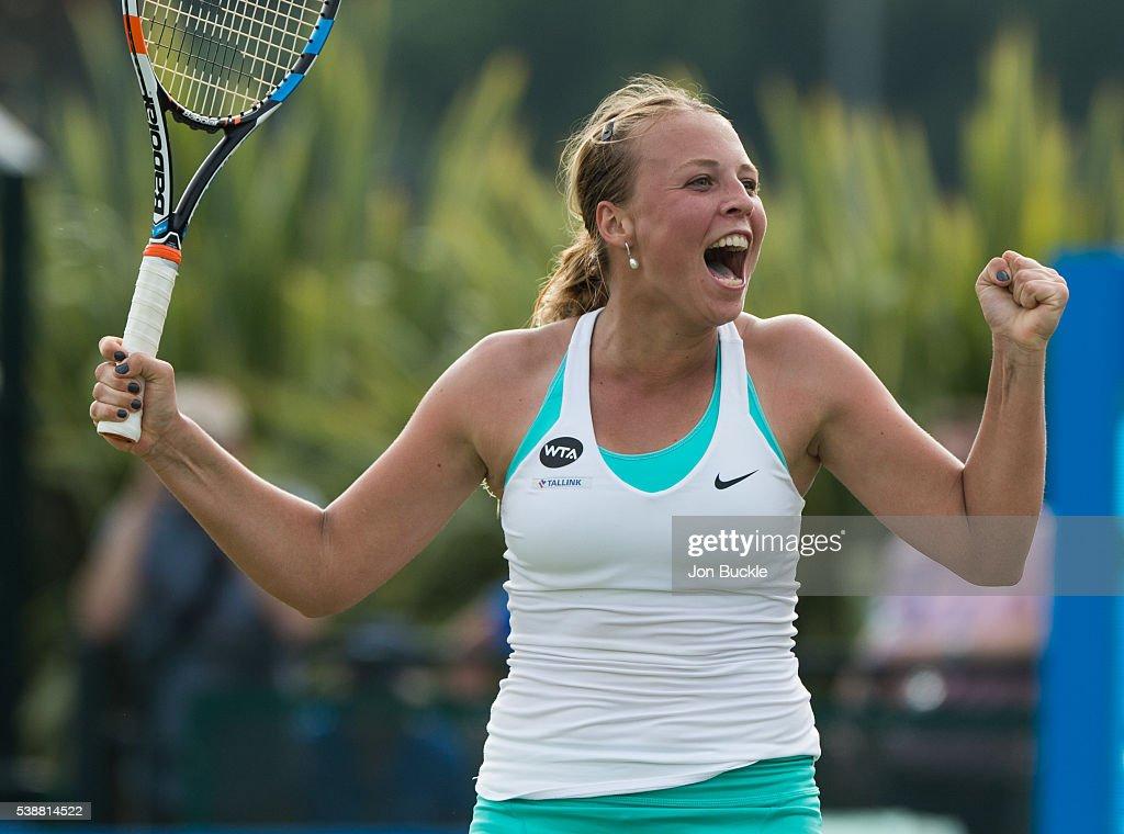 Anett Kontaveit of Estonia celebrates during her women's singles match against Caroline Wozniacki of Denmark on day three of the WTA Aegon Open on June 8, 2016 in Nottingham, England.