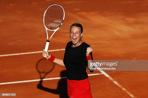 Anett Kontaveit of Estonia celebrates victory after her quarter final match against Caroline Wozniacki of Denmark during day 6 of the Internazionali...