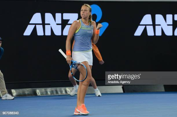 Anett Kontaveit of Estonia gestures after scoring a point against Jelena Ostapenko of Latvia during 2018 Australia Open Women's Singles tennis match...