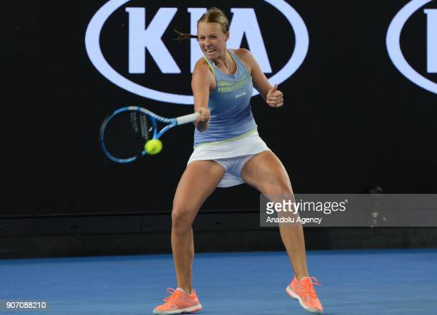 Anett Kontaveit of Estonia in action against Jelena Ostapenko of Latvia during 2018 Australia Open Women's Singles tennis match in Melbourne...