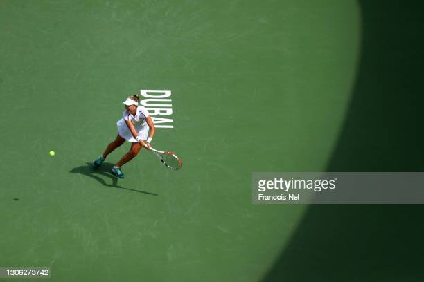Anett Kontaveit of Estonia in action during her round of 16 match against Aryna Sabalenka of Belarus during Day Four of the Dubai Duty Free Tennis at...
