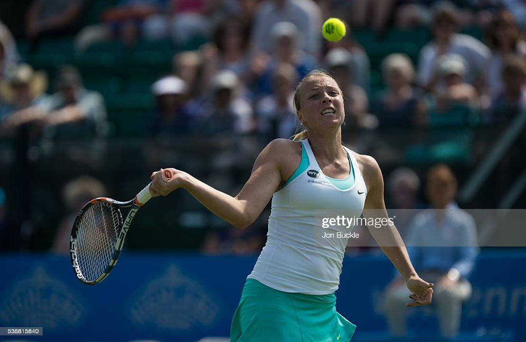 Anett Kontaveit of Estonia in action during her women's singles match against Caroline Wozniacki of Denmark on day three of the WTA Aegon Open on June 8, 2016 in Nottingham, England.