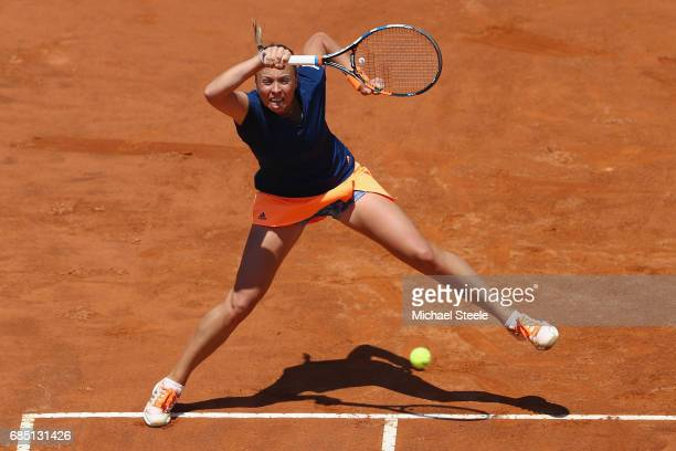 Anett Kontaveit of Estonia in action during the women's quarter-final match against Simona Halep of Romania on Day Six of the Internazionali BNL...
