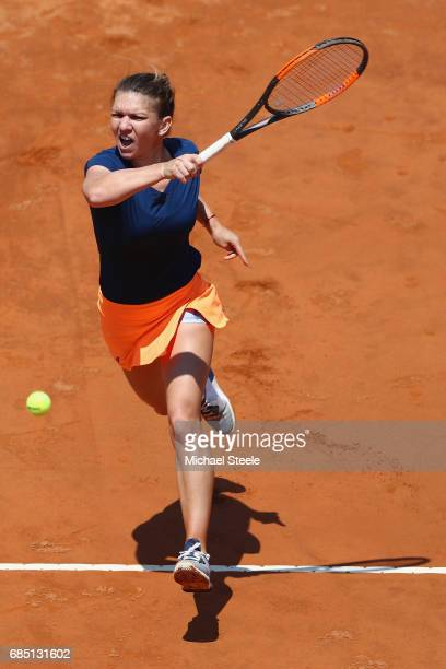 Anett Kontaveit of Estonia in action during the women's quarterfinal match against Simona Halep of Romania on Day Six of the Internazionali BNL...