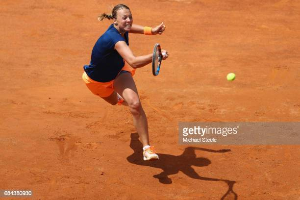 Anett Kontaveit of Estonia in action during the women's third round match against Mirjana LucicBaroni of Croatia on Day Five of the Internazionali...