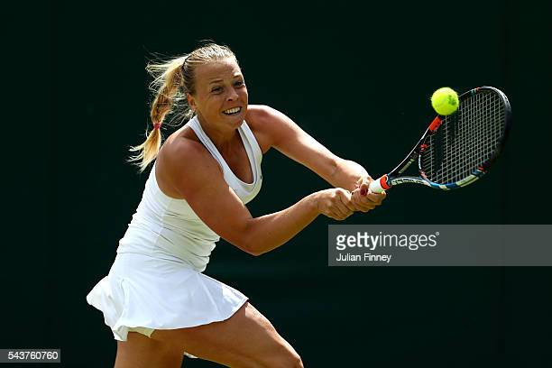 Anett Kontaveit of Estonia plays a backhand during the Ladies Singles first round match against Barbora Strycova of Czech Republic on day four of the...