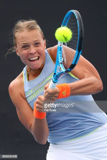 Anett Kontaveit of Estonia plays a backhand in her first round match against Aleksandra Krunic of Serbia on day one of the 2018 Australian Open at...