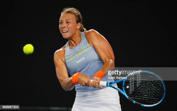 Anett Kontaveit of Estonia plays a backhand in her third round match against Jelena Ostapenko of Latvia on day five of the 2018 Australian Open at...