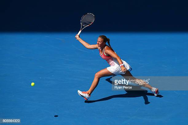 Anett Kontaveit of Estonia plays a forehand in her first round match against Gabine Muguruza of Spain during day two of the 2016 Australian Open at...