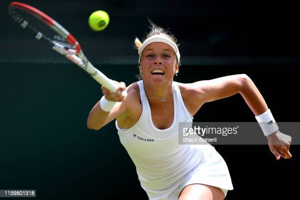 Anett Kontaveit of Estonia plays a forehand in her Ladies' Singles second round match against Heather Watson of Great Britain during Day three of The...