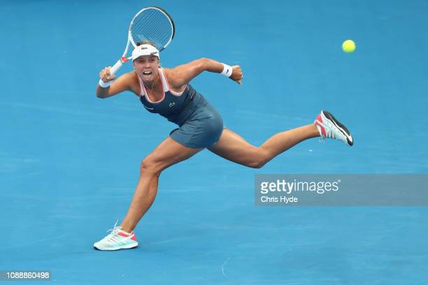 Anett Kontaveit of Estonia plays a forehand in her match against Petra Kvitova of Czech Republic during day four of the 2019 Brisbane International...
