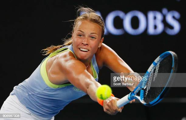 Anett Kontaveit of Estonia plays a forehand in her third round match against Jelena Ostapenko of Latvia on day five of the 2018 Australian Open at...