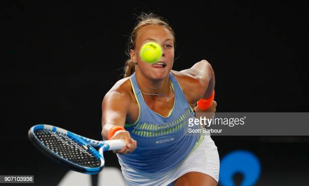 Anett Kontaveit of Estonia plays a shot in her third round match against Jelena Ostapenko of Latvia on day five of the 2018 Australian Open at...