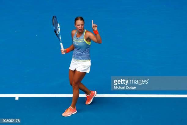 Anett Kontaveit of Estonia reacts in her fourth round match against Carla Suarez Navarro of Spain on day seven of the 2018 Australian Open at...