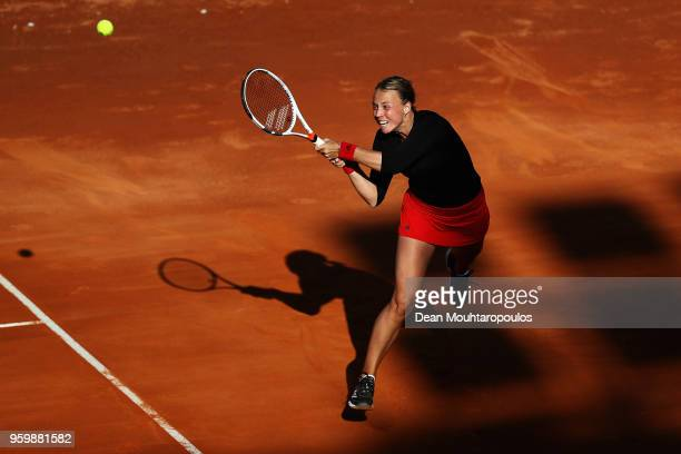 Anett Kontaveit of Estonia returns a backhand in her quarter final match against Caroline Wozniacki of Denmark during day 6 of the Internazionali BNL...
