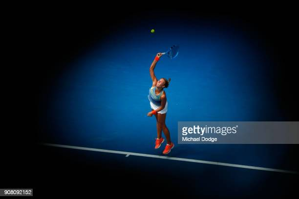 Anett Kontaveit of Estonia serves in her fourth round match against Carla Suarez Navarro of Spain on day seven of the 2018 Australian Open at...
