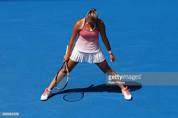 Anett Kontaveit of Estonia shows her emotion in her first round match against Gabine Muguruza of Spain during day two of the 2016 Australian Open at...