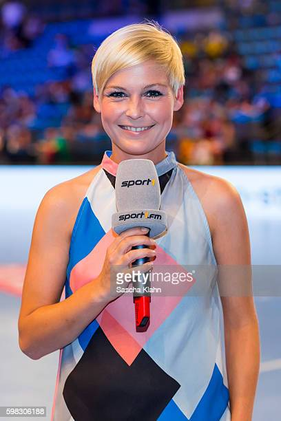 Anett Sattler from Sport1 at the Pixum Super Cup 2016 between RheinNeckar Lwen and SC Magdeburg at Porsche Arena on August 31 2016 in Stuttgart...