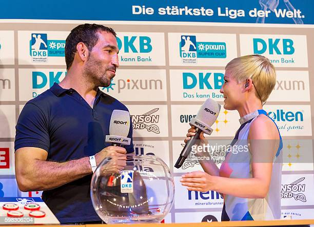 Anett Sattler from Sport1talking to the former boxing world champion Firat Arslan under the draw for the eightfinals of the German Cup at the Pixum...