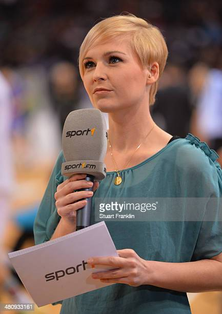 Anett Sattler handball reporter for Sport 1 at the DKB Bundesliga handball match between HSV Handball and Fuechse Berlin at O2 World on March 27 2014...