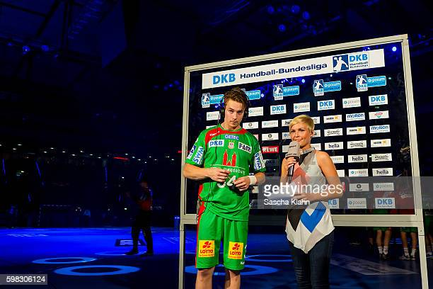 Anett Sattler of Sport1 talking to Michael Damgaard at the Pixum Super Cup 2016 between RheinNeckar Lwen and SC Magdeburg at Porsche Arena on August...