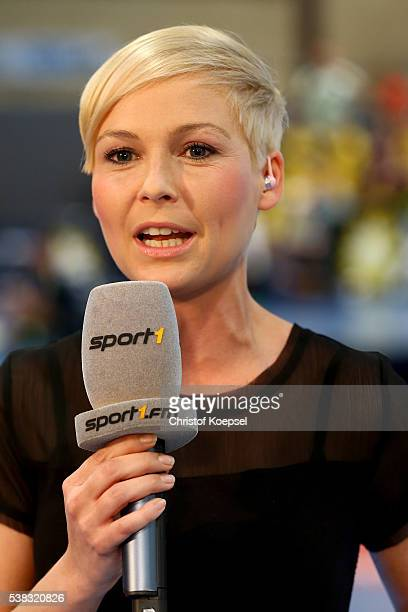 Anett Sattler Sport 1 moderator talks prior to the DKB Handball Bundesliga match between TuS NLuebbecke and RN Loewen at Kreissporthalle on June 5...