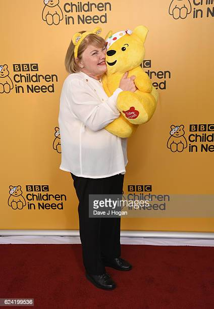 Anette Badland shows support for BBC Children in Need at Elstree Studios on November 18 2016 in Borehamwood United Kingdom