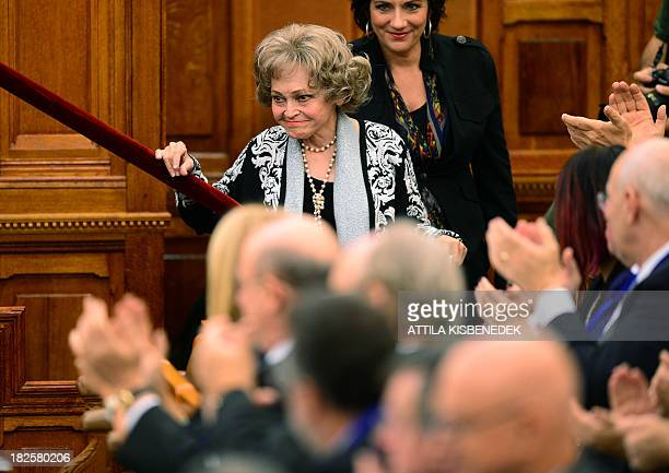 US Anette Lantos wife of late Tom Lantos and chairman of the Lantos Foundation leaves the podium after adressing the conference of Jewish life and...