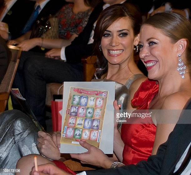Anette Michel and Andrea Noli during the presentation of Loteria Mexicana tv program on July 29 2010 in Mexico City Mexico