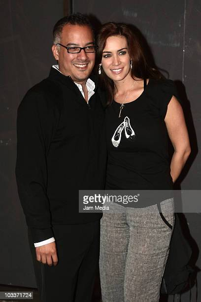 Anette Michel and her husband attend the presentation number 100 of the musical Timbiriche at Aldama Theater on August 13 2010 in Mexico City Mexico