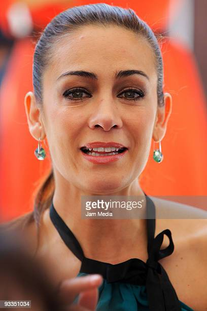 Anette Michel attends the ceremony to lay the cornerstone of TV Azteca's new complex of telenovela production on November 23 2009 in Mexico City...