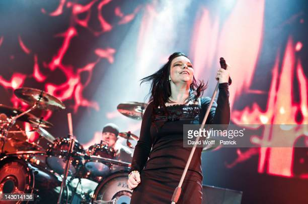 Anette Olzon and Jukka Nevalainen of Nightwish perform at Palais Omnisports de Bercy on April 17 2012 in Paris France