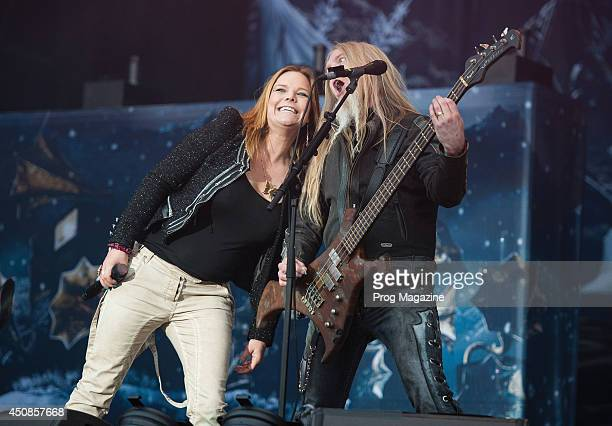 Anette Olzon and Marco Hietala of Finnish symphonic metal group Nightwish performing live on stage at Download Festival on June 8 2012