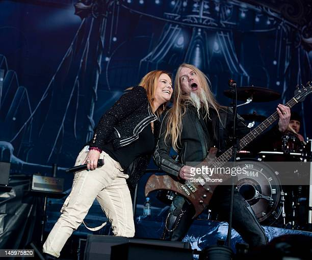 Anette Olzon and Marco Hietala of Nightwish perform on stage during Download Festival at Donington Park on June 8 2012 in Castle Donington United...