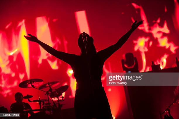Anette Olzon of Nightwish performs on stage at the ISS Dome on April 14 2012 in Duesseldorf Germany
