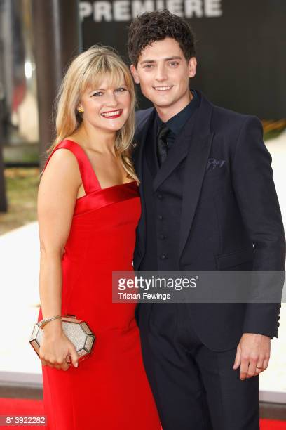 Aneurin Barnard and a guest arrive at the 'Dunkirk' World Premiere at Odeon Leicester Square on July 13 2017 in London England