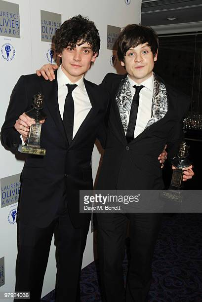 Aneurin Barnard and Iwan Rheon pose with their Best Actor In A Musical and Best Supporting Role In A Musical Award for Spring Awakening during The...