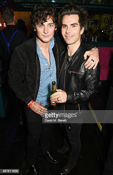 Aneurin Barnard and Kelly Jones attend the launch of Stereophonics' new album 'Keep The Village Alive' at Drama Club on September 10 2015 in London...