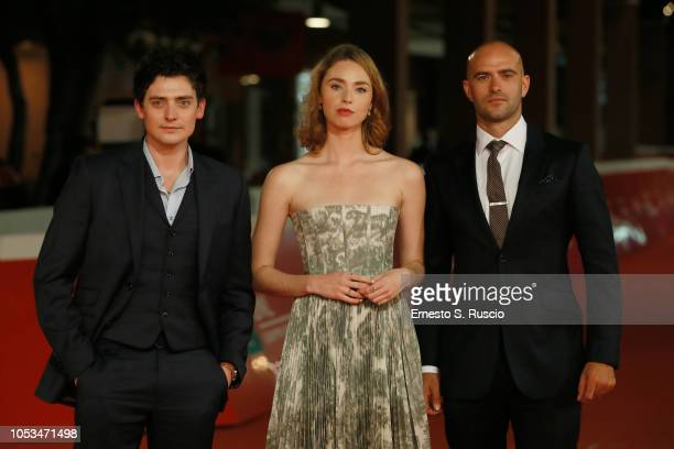 Aneurin Barnard Freya Mavor and Tom Edmunds walk the red carpet ahead of the 'Dead In A Week Or Give Your Money Back' screening during the 13th Rome...