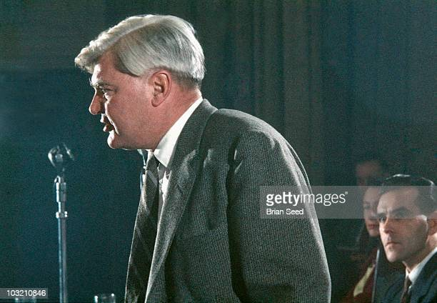 Aneurin Bevan Labour party politician and creator of British National Health Service as Minister of Health in the Attlee Government addressing Labour...