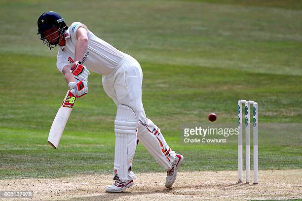 Aneurin Donald of Glamorgan hits out during the Specsavers County Championship division two match between Essex and Glmaorgan at The Essex County...