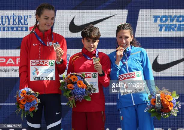 Anezka Drahotova of Czech Republic silver Maria Perez of Spain gold and Antonella Palmosano of Italy bronze pose with their medals for the Women's...